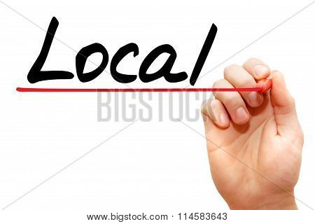 Hand Writing Local, Business Concept