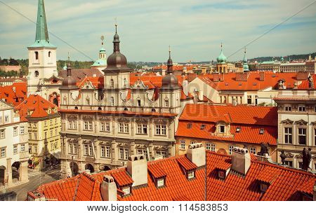 Rooftop View On Beautiful City With Baroque Style Buildings Of Historical Town Of Old Prague