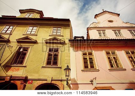 Two Ancient Buildings In Barocco Style With Colorful. Unesco World Heritage Register