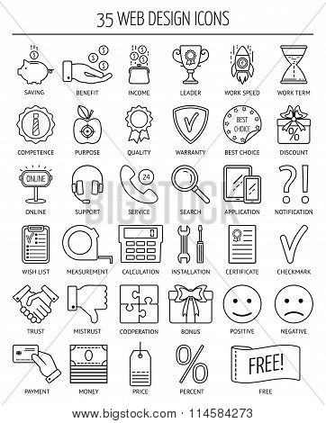 35 Linear Web Icons. Line Icons For Business, Web Development And Landing Page. Flat Design. Vector