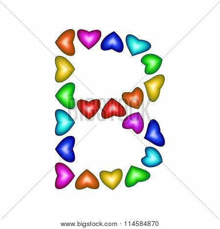 Letter B Made Of Multicolored Hearts