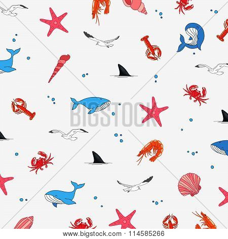 Pattern On The Theme Of Marine Life
