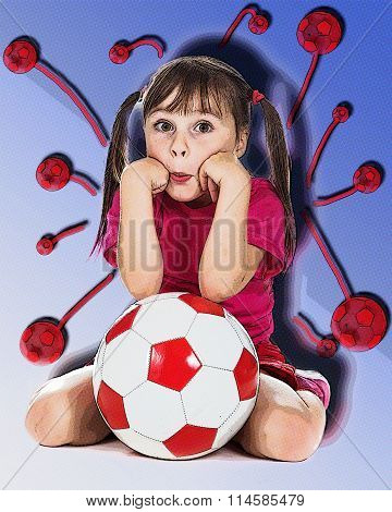 Little girl football player