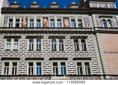 Baroque House With Painted Facade Walls And Fresco With Royal Portraits. Unesco World Heritage Regis