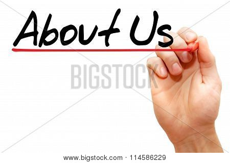 Hand Writing About Us, Business Concept