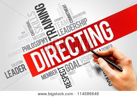 DIRECTING word cloud business concept, presentation background