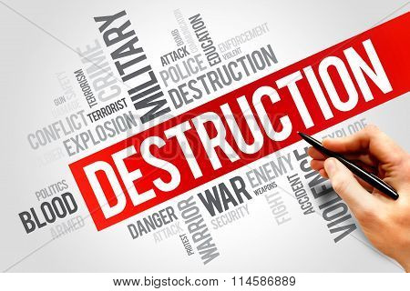 DESTRUCTION word cloud collage concept, presentation background