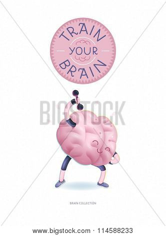Train your brain poster - the vector illustration of a training brains activity with lettering Train Your Brain, dumbbells exercises. Part of Brain collection.