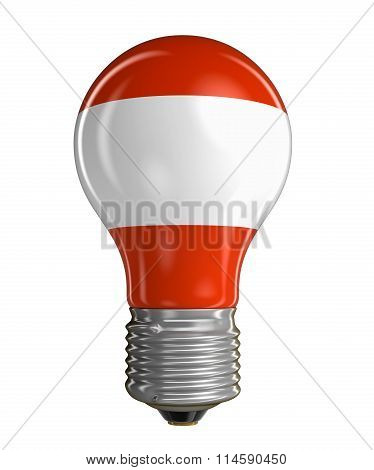 Light bulb with Austrian flag.  Image with clipping path