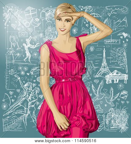 Love concept. Sale concept. Vector surprised blonde in pink dress against love story elements background
