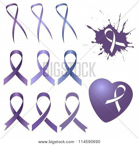 Lavender Ribbon In Different Versions. World Cancer Day