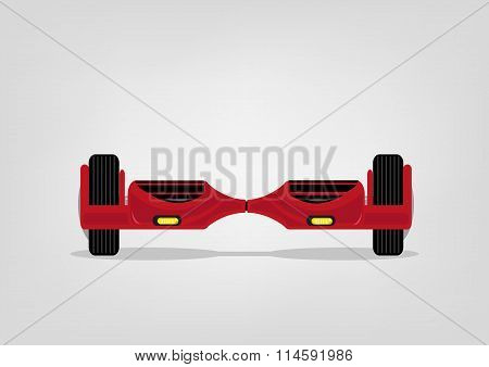 Red Modern Smart Balance Scooter. Editable Clip Art.