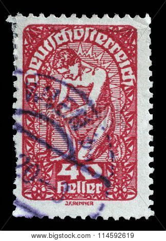 AUSTRIA - CIRCA 1919: a stamp printed in the Austria shows Man, Allegory of New Republic, Austria, circa 1919