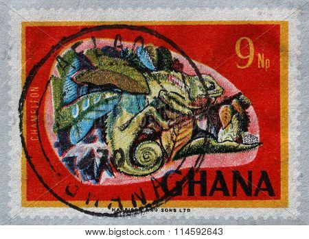 GHANA - CIRCA 1967: a stamp printed in Ghana shows Chamaeleo sp., National Symbols, circa 1967.