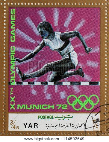 YAR - CIRCA 1972: A stamp printed in Yemen Arab Republic shows steeplechase, Olympics in Munich, circa 1972