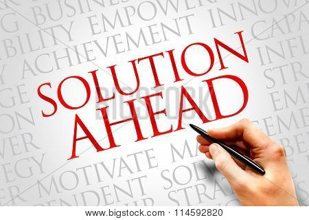 Solution ahead word cloud business concept , presentation background