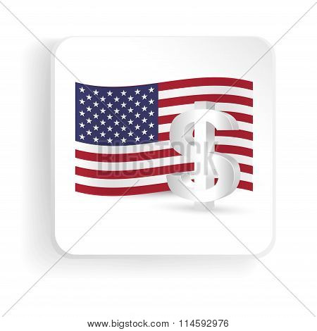 American Dollar Symbol With Flag Of Usa - Finance Sign Icon. Vector Illustration.