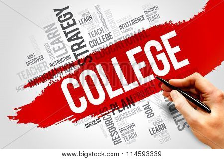 COLLEGE word cloud education concept, presentation background