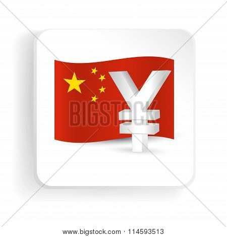 Yuan Symbol With China Flag - Finance Sign Icon. Vector Illustration.