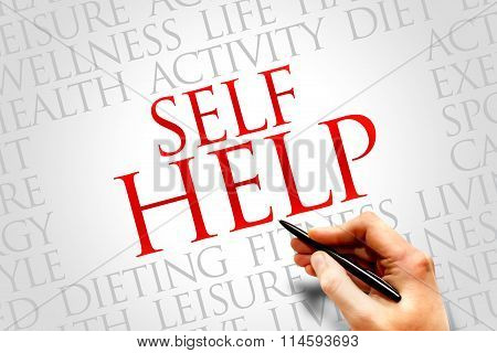 Self Help word cloud health concept, presentation background