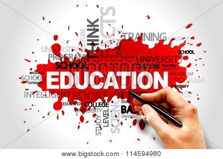 EDUCATION word cloud collage concept, presentation background