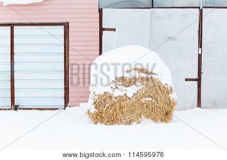 House and hay on the farm