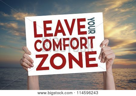 Leave Your Comfort Zone Card With Beach Background