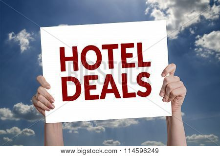 Hotel Deals Card With Cloud Background