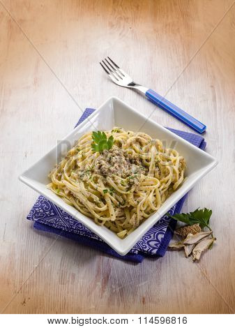 pasta with cep edible mushroom and anchovies