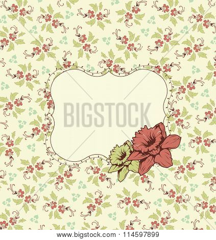 Vintage invitation card with ornate elegant retro abstract floral design, pale red and yellow green flowers and leaves on pale yellow background with plaque text label. Vector illustration.