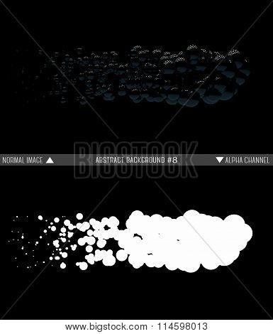 Shiny balls in random order hanging in the air on a black background. Abstract illustration with sph