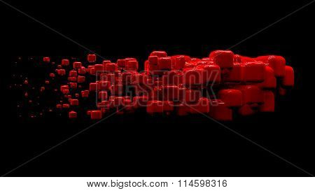 Shiny cubes in random order hanging in the air on a black background. Abstract illustration with cub