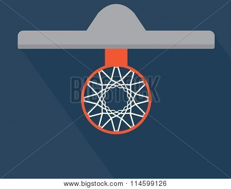 Simple Basketball basket and net vector illustration. View from above