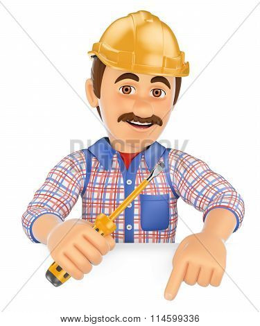 3D Electrician With A Screwdriver Pointing Down. Blank Space