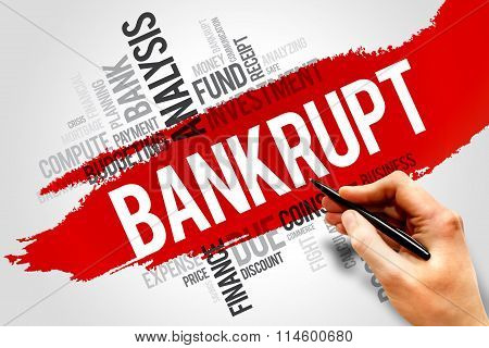 BANKRUPT word cloud business concept, presentation background