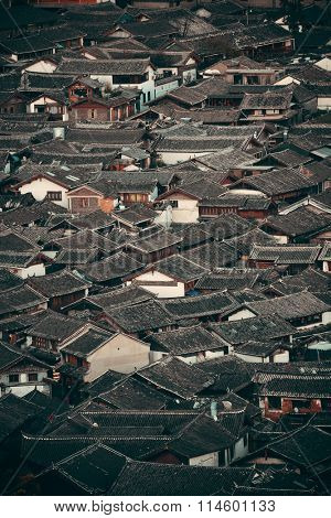 Lijiang Old Town building roof abstract backgroud