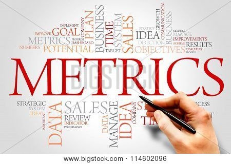 Metrics word cloud business concept, presentation background