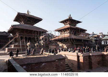 Nepali And Tourist In Patan Durbar Square