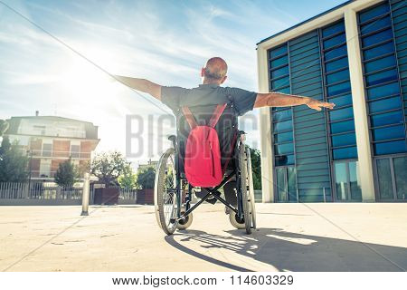 Man On Wheel Chair