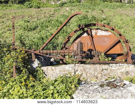ancient rusty watermill in the countryside