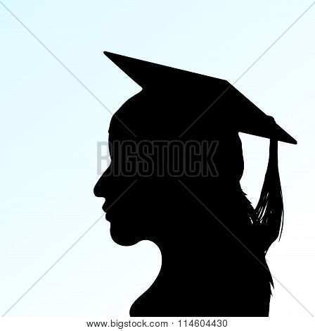 Vector young girl with Mortar Board