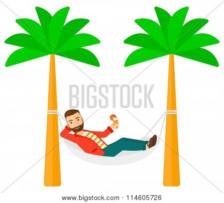 Man chilling in hammock.