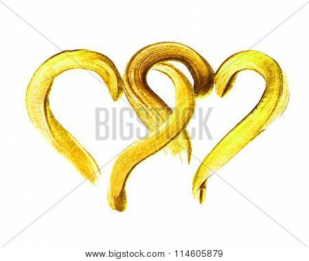Two hand-drawn gold hearts.