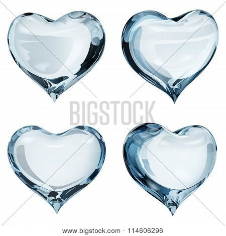 Opaque Light Blue Hearts
