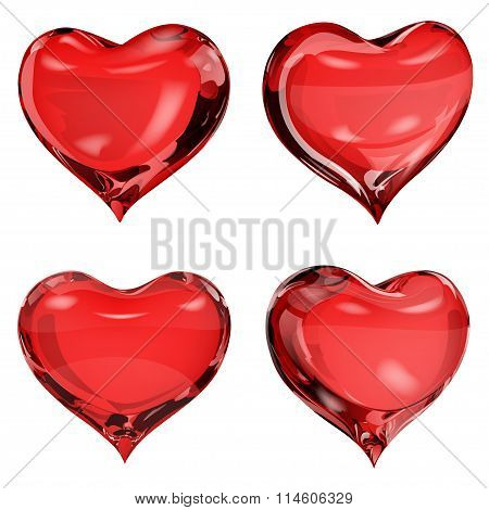Opaque Red Hearts