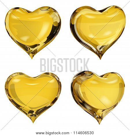 Opaque Yellow Hearts