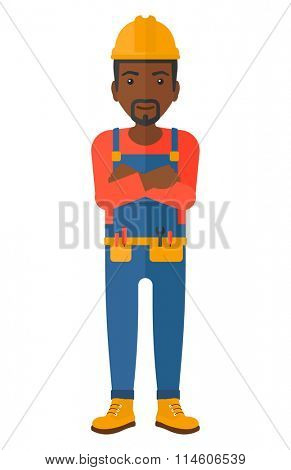Friendly builder with arms crossed.