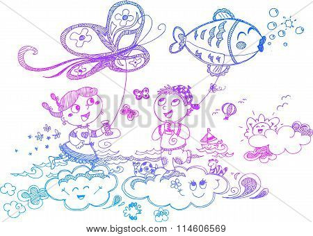 Children playing with kites vector
