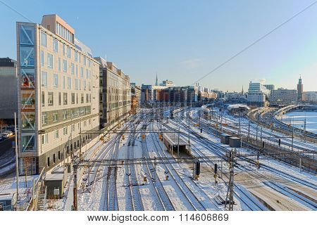 View Of The Snowy Marshalling Yard In Stockholma A Beautiful Day