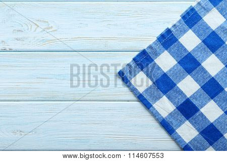 Napkin On Blue Wooden Table, Close Up